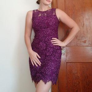 Ralph Lauren Purple Lace Fitted Dress
